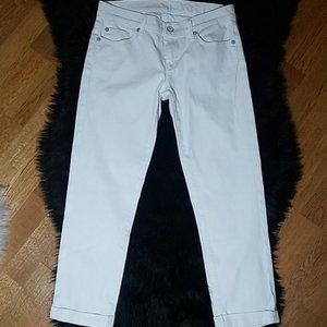 7FAM Skinny Crop and Roll White Jeans